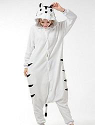 kigurumi Pyjamas Tiger Collant/Combinaison Fête / Célébration Pyjamas Animale Halloween Noir/blanc Mosaïque Polaire Kigurumi Pour Unisexe