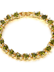 Copper Bracelets and Bangles New Design Green Heart-shaped Zircon Bracelet 24K Gold Plated Women Bracelet