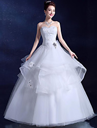 Ball Gown Wedding Dress Floor-length Sweetheart Lace / Satin / Tulle with Crystal / Sequin