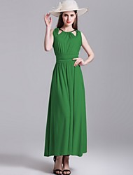 Women's Street chic Solid Sheath Dress,Halter Maxi Polyester