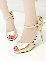 Women's Shoes Patent Leather Stiletto Heel Open Toe Sandals Office & Career / Dress / Casual Silver / Gold