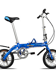 Dequilon K8 14 inch mini folding bike double disc brakes bicycle Ultraportability single speed blue