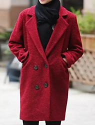 Women's Solid Red Pea Coats,Plus Size Long Sleeve Wool