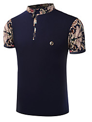 Men's Short Sleeve Polo,Cotton Casual / Formal Print