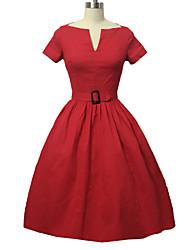 Damen Kleid-Swing Retro Solide Knielang Baumwolle V-Ausschnitt
