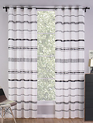 Two Panels Modern Stripe White Bedroom Polyester Panel Curtains Drapes 140cm Per Panel