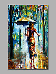 Art Oil Painting Elegant Lady Open an Umbrella Walking in Forest
