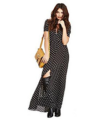 Women's Simple Polka Dot Tunic Dress,Round Neck Maxi Polyester
