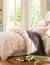Brown flowers 100% Cotton Bedclothes 4pcs Bedding Set Queen Size Duvet Cover Set
