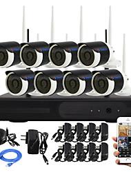 yanse® 8 canais kit wireless NVR 720p HD IR p2p visão noturna ip câmera de segurança wi-fi sistema de CCTV impermeável diy