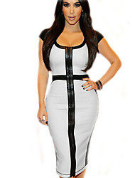 Women's Sexy Patchwork Bodycon Dress,Round Neck Above Knee Polyester