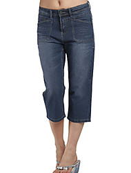 Women's Plus Size High Waist Cropped Jeans With Whisker Detail