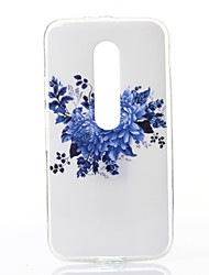 Blue Chrysanthemum Pattern TPU Soft Case for Motorola Moto G3