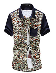 Brand Fashion Men's Short Sleeve Leopard Patchwork Slim Shirt,Cotton / Polyester Casual / Work Print Hot