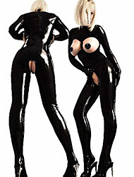 Women's Open Bra PVC Catsuit Jumpsuit Fancy Dress Costume