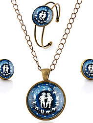 Lureme® Time Gem The Zodiac Series Simple Vintage Style Gemini Pendant Necklace Stud Earrings Bangle Jewelry Sets