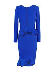Robe Femme Travail Grandes TaillesCouleur Pleine Col Arrondi Mi-long Manches Longues Bleu Coton Polyester Automne Micro-élastique Moyen