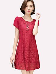 Mulheres Vestido Tamanhos Grandes / Evasê Fofo / Moda de Rua Sólido Acima do Joelho Decote Redondo Poliéster