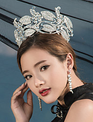 Luxury Women's Rhinestone Wedding Bridal Tiaras Earring Set Silver Party Headpiece HG2306
