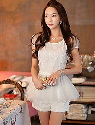 Women's Solid White Shorts Pants,Casual / Day