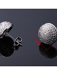 Lead Free Cubic Zirconia Setting Button Stud Earring for Girl Bridal Wedding Fashion Jewelry