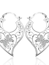 lureme® Fashion Style Silver Plated Hollow Butterfly Shaped with Zircon Earrings
