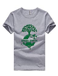 Herren T-shirt-Druck Freizeit / Sport Baumwolle / Polyester Kurz-Blau / Rot / Weiß / Gelb / Grau