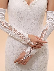 Opera Length Fingerless Glove Elastic Satin Bridal Gloves Party/ Evening Gloves Spring Summer Fall Winter lace