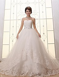 Ball Gown Wedding Dress Cathedral Train Strapless Lace / Satin / Tulle with Appliques / Lace / Pattern