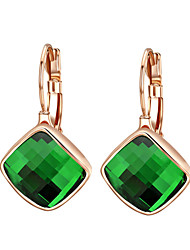 HKTC Dazzling Cz Jewelry 18k Rose Gold Plated Green Austria Crystal Rhombus Shape Drop Earrings