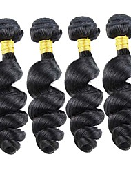 4Pcs/Lot 200g 8-26inch Peruvian Virgin Hair Loose Wave Black Color Unprocessed Human Hair Weaves Wholesales.