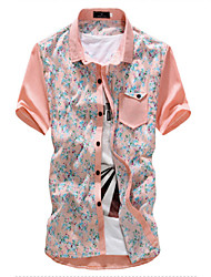 New Arrival Men's Short Sleeve Floral Printing Beach Shirt,Cotton / Polyester Casual / Sport Leopard Hot Sale