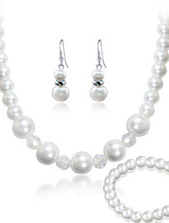 Women's White Imitation Pearl Necklace Earrings Bracelet Jewelry Set for Wedding Party