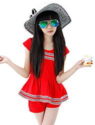 Girl's Summer Cotton college style elastic cute encase shoulder T-shirt Two-piece