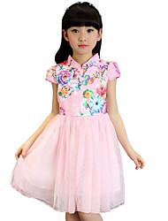 Girl's Blue / Pink / White Dress Rayon Summer