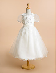 A-line Tea-length Flower Girl Dress - Lace / Tulle Short Sleeve Scoop with Flower(s) / Lace