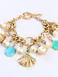 Vintage European Fashion Alloy Pearl Shell Charm Bracelet 1pc