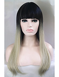 parrucche economiche bicolore 1b / argento bionda parrucca celebrità moda ombre diritte parrucche eleganti femminili parrucca diritta