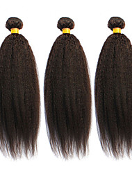 12-24inch Brazilian Virgin Hair Natural Black Kinky Straight Hair Unprocessed Human Hair Weave Bundles