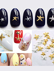 50pcs New Cute Gold Silver Starfish Nail Art Studs DIY 3D Alloy Nail Beauty Accessories Decoration