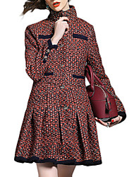 Women's Casual/Daily Simple Coat,Print Long Sleeve Red Polyester