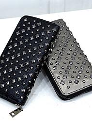 Women PU Bi-fold Clutch / Wallet / Card & ID Holder-Gold / Black