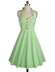 Klassische & Traditionelle Lolita Ärmellos Mittlerer Länge Grün Baumwolle Lolita Kleid