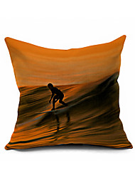 Walker of Waves Cotton/Linen Pillow Cover Nature Modern/Contemporary Pillow Linen Cushion