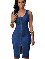 Women's Sexy Front Zip Split Design Midi Bodycon Denim Dress