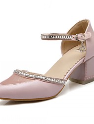Zapatos de mujer-Tacón Robusto-Tacones-Tacones-Boda / Oficina y Trabajo / Fiesta y Noche-Semicuero-Azul / Rosa / Blanco