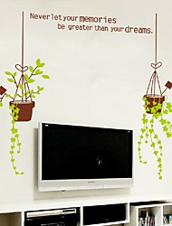 Big Flower Pot Wall Stickersdecal Plants Grass Vinyl Wallpaper Mural Original Home Room Window Door Decor