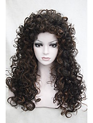 """sexy sombre mélange brun moyen auburn bouclés perruque Quotidien du 22 """"longue synthétique cheveux pleins de femmes 5377 4-30"""