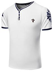 Herren T-shirt-Druck Freizeit / Sport Baumwolle Kurz-Blau / Rot / Weiß