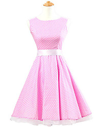 50s Era Vintage Style Sleeveless Rockabilly Dress Cosplay Costume Pink White Mini Polka Dot (with Petticoat)